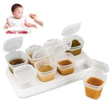 8 unids BPA Bebé Libre de Congelación de Alimentos de Destete Cubos Ollas Congelador Recipientes de Almacenamiento de Congelación Y Multi-Función de Calentamiento de Alimentos bandeja