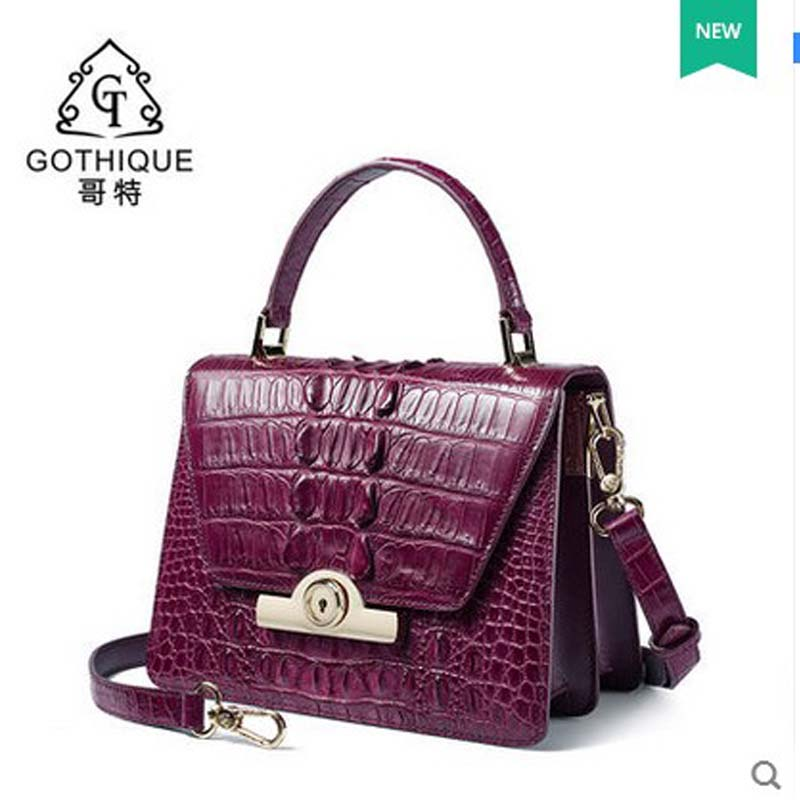 gete 2017 New Thai alligator leather women handbag fashion lady handbag pack single shoulder bag Small square bag women flap