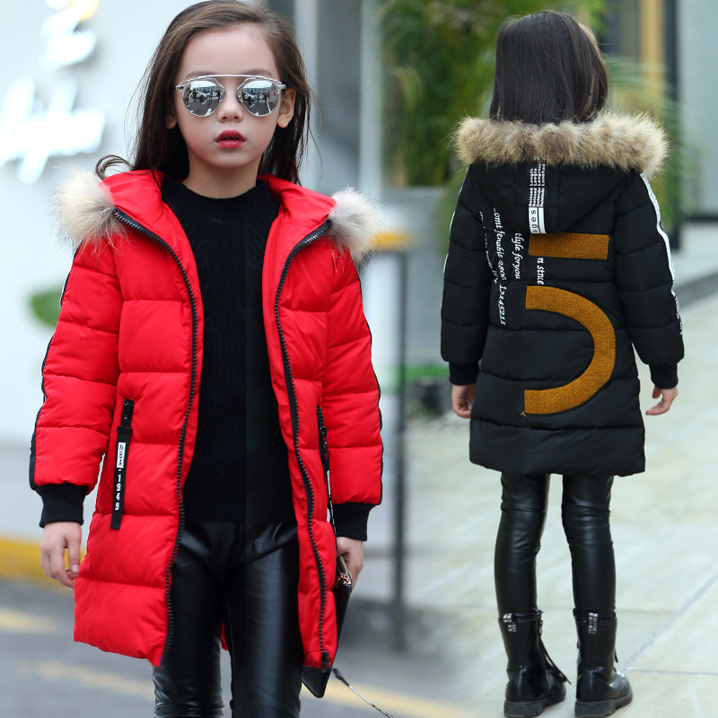 2017 Brand Child Winter Warm Jacket Kid Winter Parka Thick Cotton-Padded Hooded Kid Winter Fur School Coat Girls Long Outerwear x long cotton padded jacket female faux fur hooded thick parka warm winter jacket women solid color wadded coat outerwear tt763