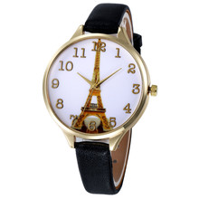 relogio feminino women watches Paris Eiffel Tower Women Faux Leather clock Analog Quartz Wrist Watch free shipping gift