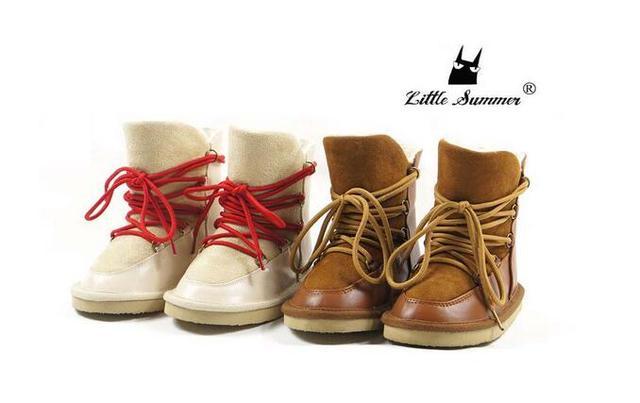 2017 Nueva Lace Up Suela de Goma bebé de la manera zapatos de Invierno Genuino mocasines de piel de bebé de cuero niños niñas bebé botas de nieve