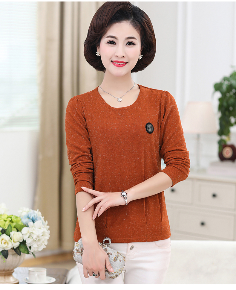 Women Spring Tops Bright Glod Yarn Blouses Red Caramel Green Twinkle Design Shirts Female Casual Long Sleeve O-neck Top For Woman (9)