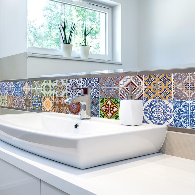 2 stile pvc wandaufkleber bad treppen wasserdichte selbstklebende tapete kche mosaik fliesen aufkleber fr zu - Fliesen Tapete Kuche