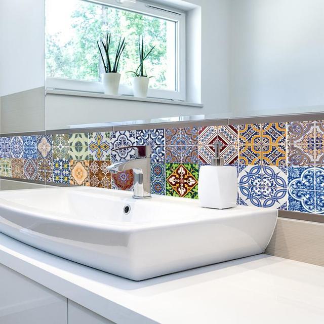 2 Styles PVC mur autocollant salle de bains escaliers étanche auto adhésif  papier peint cuisine mosaïque tuile autocollants pour la maison murs ...
