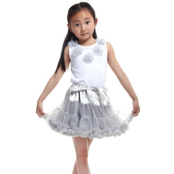 SOLID COLOR Multi-List Pettiskirt Skirt Petti Party Dance Tutu Dress Girl 1-8Y