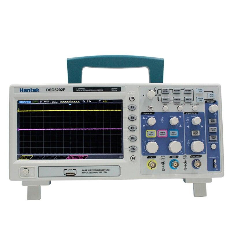 Oscilloscope numérique Portable 200 mhz bande passante 2 Canaux De Poche LCD USB Oscilloscopes Multimetro Hantek DSO5202P