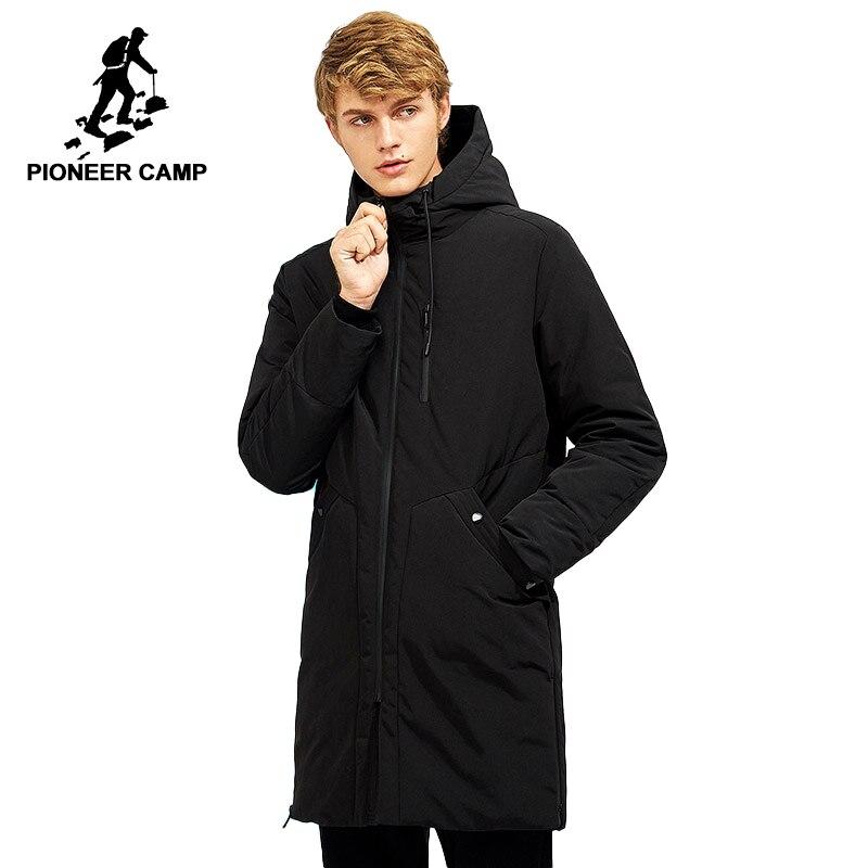 Pioneer Campo impermeabile di spessore piumino degli uomini di inverno di abbigliamento di marca con cappuccio nero lungo caldo anatra bianca giù cappotto maschile AYR705257