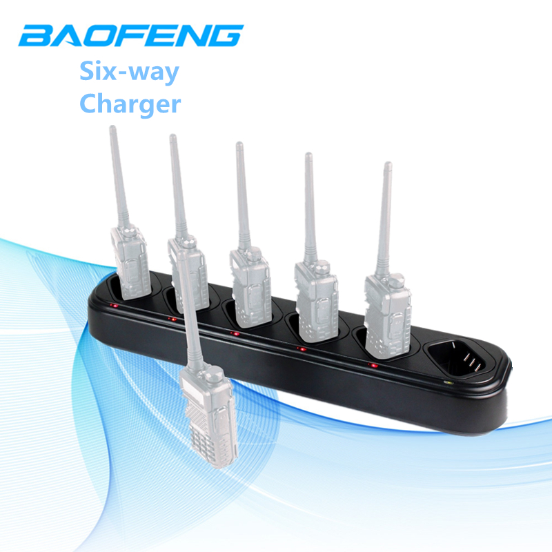 Baofeng UV-5R Six Voies Chargeur Universel Rapide Multi Chargeur Talkie Walkie Chargeur Accessoires pour Ordinateur De Poche Radio UV-5RX Plus