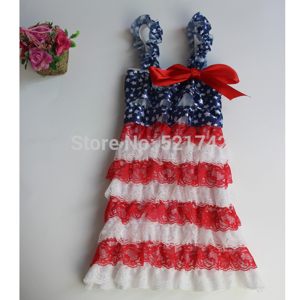 3de48d98705 baby girl patriotic 4th of July petti lace dress with Straps and ribbon  children dresses girl clothes