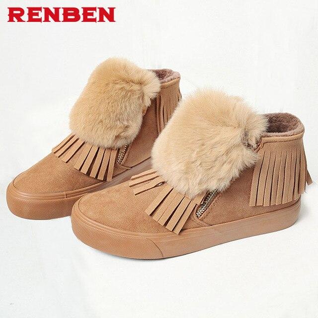 Mode fourrure de neige d'hiver Bottes femme Bottes talons 2017 femmes cheville Bottes hiver chaud chaussures de neige,kaki,37