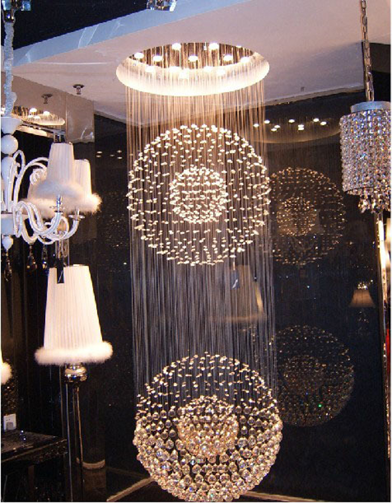 13 LED Bulbs W31.5 X H88 Crystal Chandelier Round Double Sphere Pendant Lamp RainDrop Hanging Suspension Light Lighting 3 led bulbs l24 x w8 x h23 6 crystal chandelier pendant lamp raindrop hanging suspension light lighting