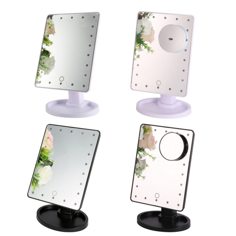 LED Touch Screen Makeup Mirror Professional Vanity Mirror With 22 LED Lights Beauty Adjustable 360 Countertop Degree Rotation