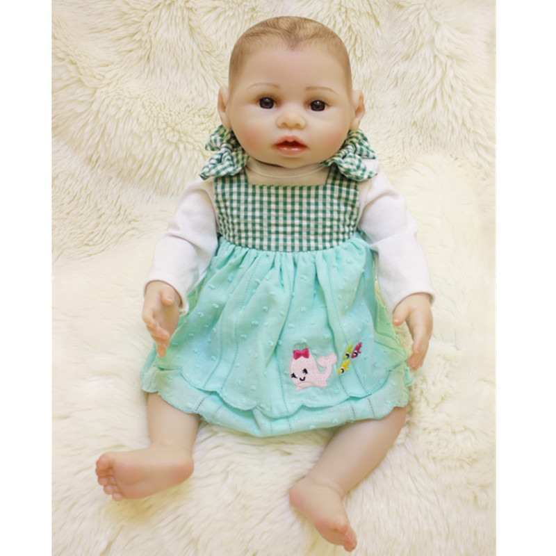 16 Full Body Silicone Girl Doll Lifelike Baby Doll Toy Baby Doll Realistic Newborn Boneca Bebe Reborn Juguetes Brinquedos Hot economic newborn baby model flexible full term baby doll