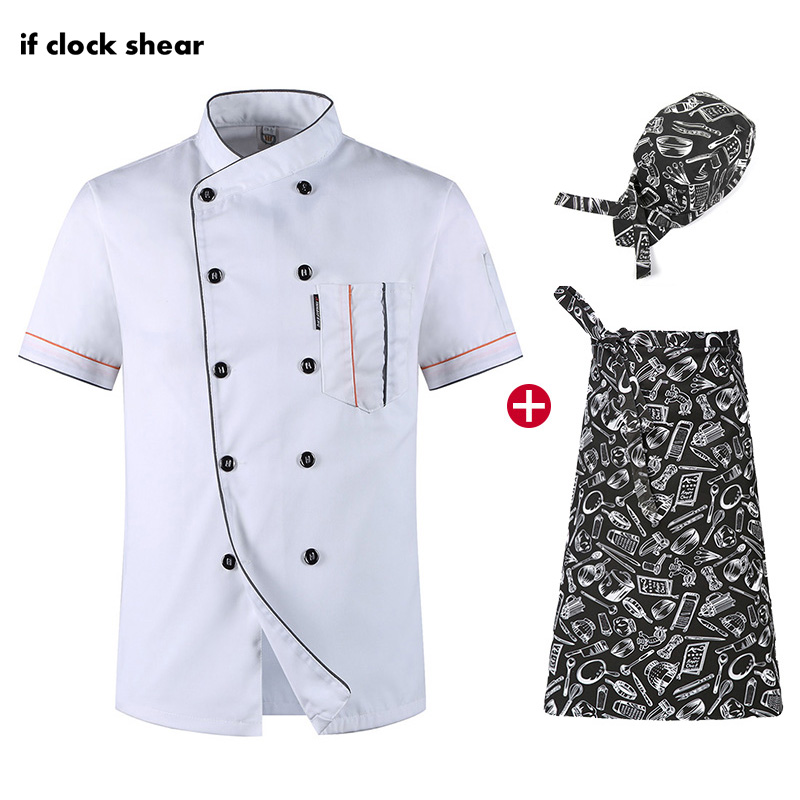 Chef Short Sleeve Kitchen Set Restaurant Hotel Workwear Men And Women Chef Uniforms Breathable Thin Jacket + Hat + Apron White