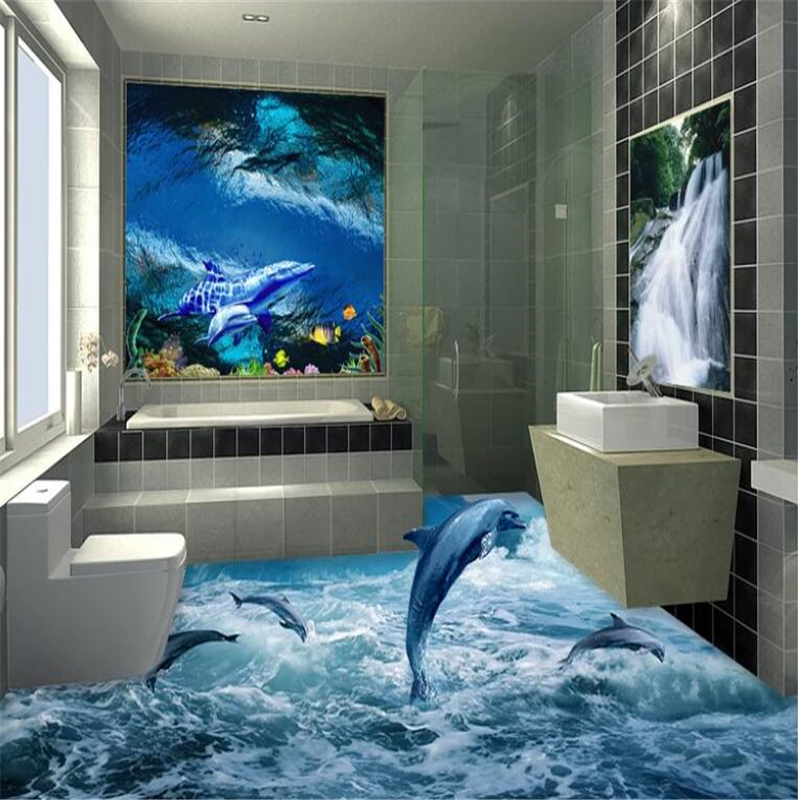 Beibehang Glacier dolphin bathroom 3D floor tiles customizing large scale mural wear resistant and waterproof film