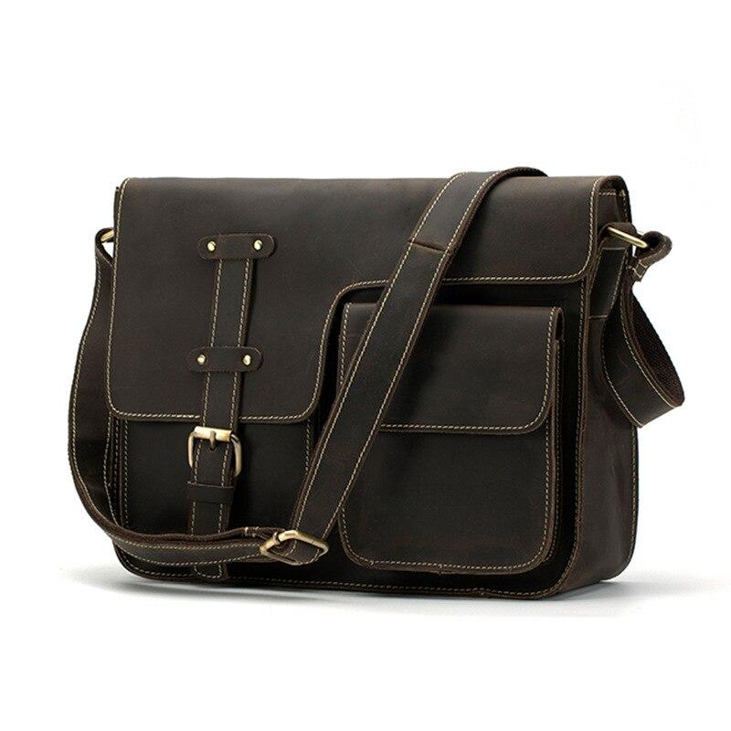 87324a9f3e Homens de saco de couro do vintage cavalo louco dos homens crossbody sacos  de Seção Transversal bolsa de ombro Oblíquo
