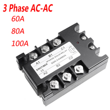 3 fase Relais 60A 80A 100A SSR 90 280 v AC 20mA AC naar AC Solid State Relais Drie fase Rele met Cover
