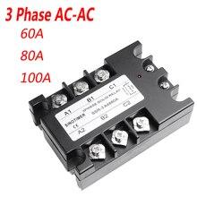 3 fazlı Röle 60A 80A 100A SSR 90 280 V AC 20mA AC Katı Hal Röle Üç fazlı Rele kapaklı
