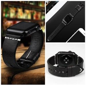 Image 5 - MAIKES אמיתי רצועת עור עבור אפל שעון להקת 44mm 40mm 42mm 38 סדרת 6 5 4 3 2 שחור צמיד iWatch רצועת השעון שעון רצועה