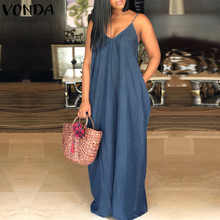Sexy Strapless Beach Maxi Long Dress Summer Boho Women V Neck Backless Casual Loose Solid Denim Dresses Plus Size Vestidos