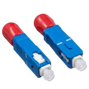Image 1 - 2 stücke Freies Verschiffen ST Weibliche zu SC Männlichen Fiber Optic Adapter Einzigen modus ST SC Hybrid Optischen Adapter
