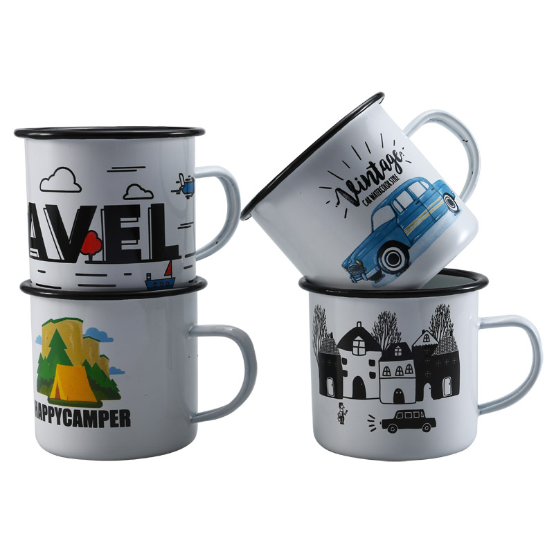 350ML Enamel Outdoor Outing Drink Cup, Cola Milk Beer Mug Rolled Edge for Travel Sports Drinkware Unique Gift