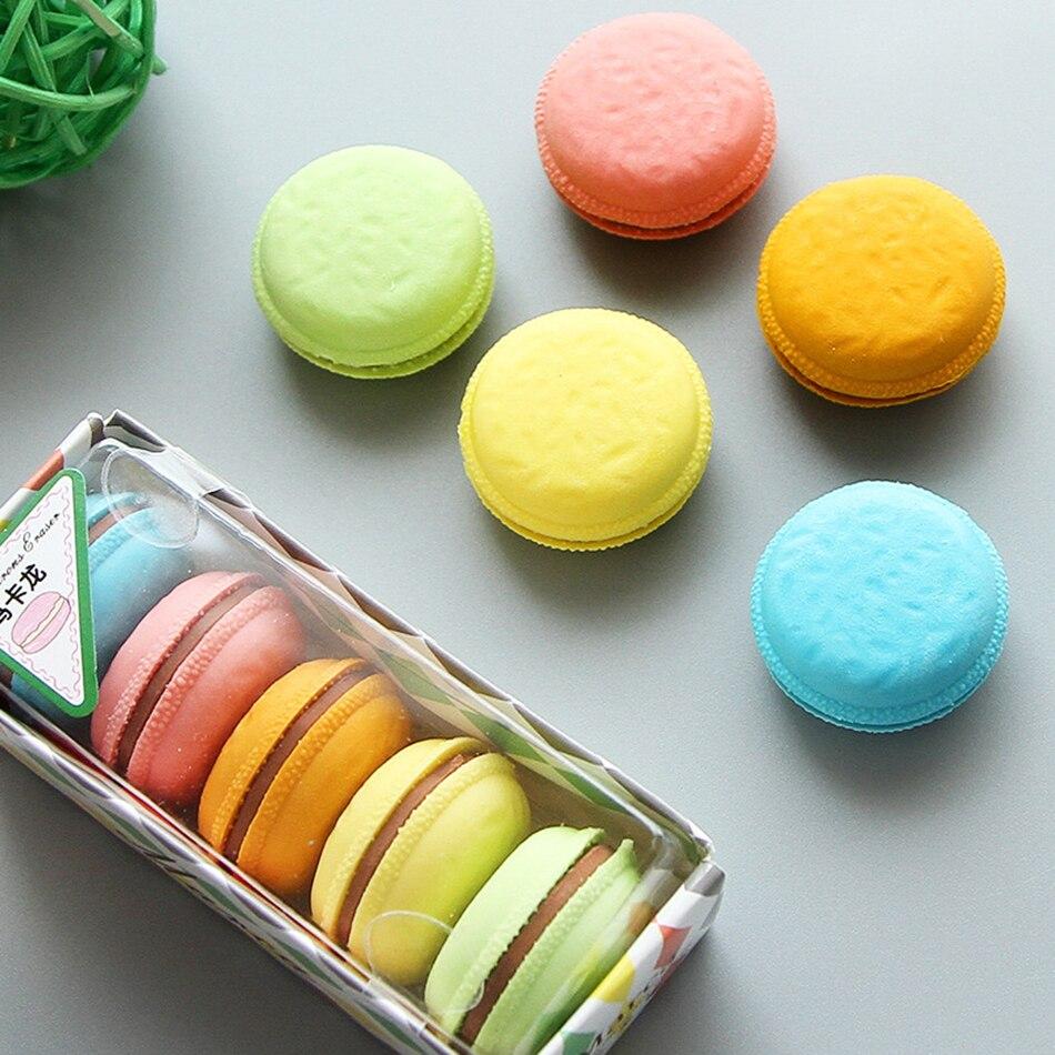 5 Pcs/box Macaron Color Erasers Cute Cake Rubber Eraser For Kids Borracha Funny Stationery Material Escolar School Supplies