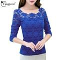 Tangnest lace mulheres plus size 6xl camisa 2016 de moda de nova elegante magro floral tops camisas wtl300