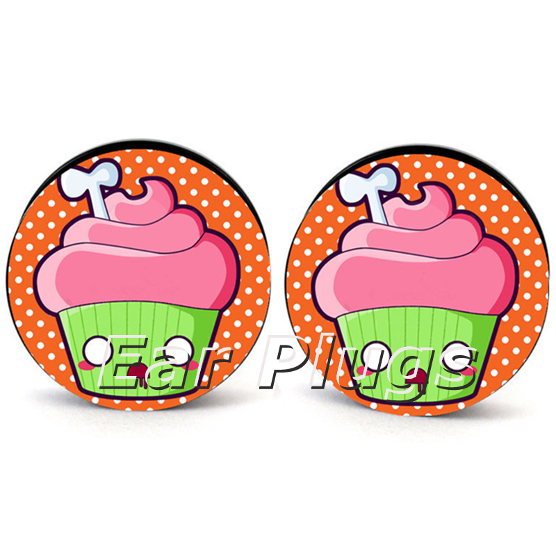 1 pair cupcake skull acrylic screw ear plug gauges tunnel flesh tunnel body piercing jewelry PAP0408