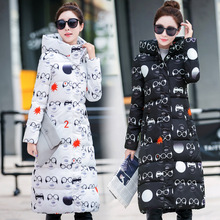 Winter Jacket Women 2016 New Arrival Down Coat Hooded Korea Style Students Print Stars And Glasses Parkas