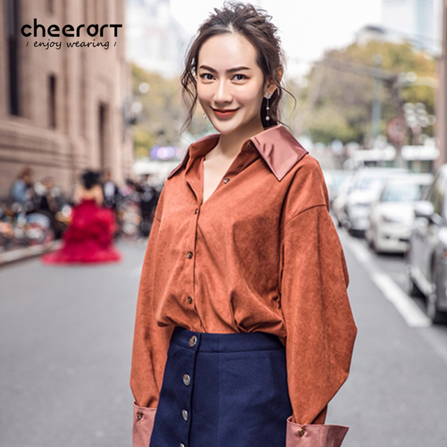 dcd7df630 Cheerart Autumn Oversized Shirt Women Big Collar Long Lantern Sleeve Satin  Blouse Loose Korean Button Down Ladies Tops