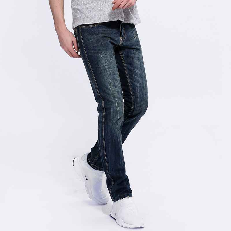 Men`s Dark Jeans Ripped Trousers Slim Fit Overalls Jeans Men Brand Clothing Business Mid Stripe Denim Jean Pants 29-40 A5001 classic mid stripe men s buttons jeans ripped slim fit denim pants male high quality vintage brand clothing moto jeans men rl617