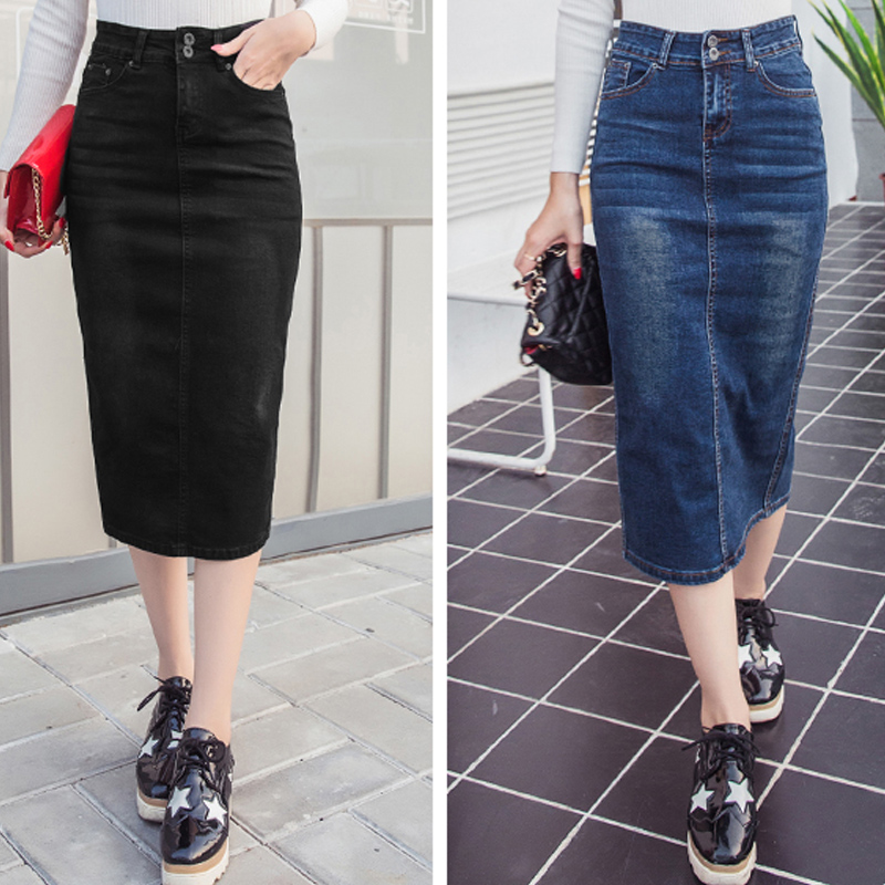 100% top quality look good shoes sale exquisite style Denim Skirt Vintage Button High Waist Pencil Black Blue Slim Women ...