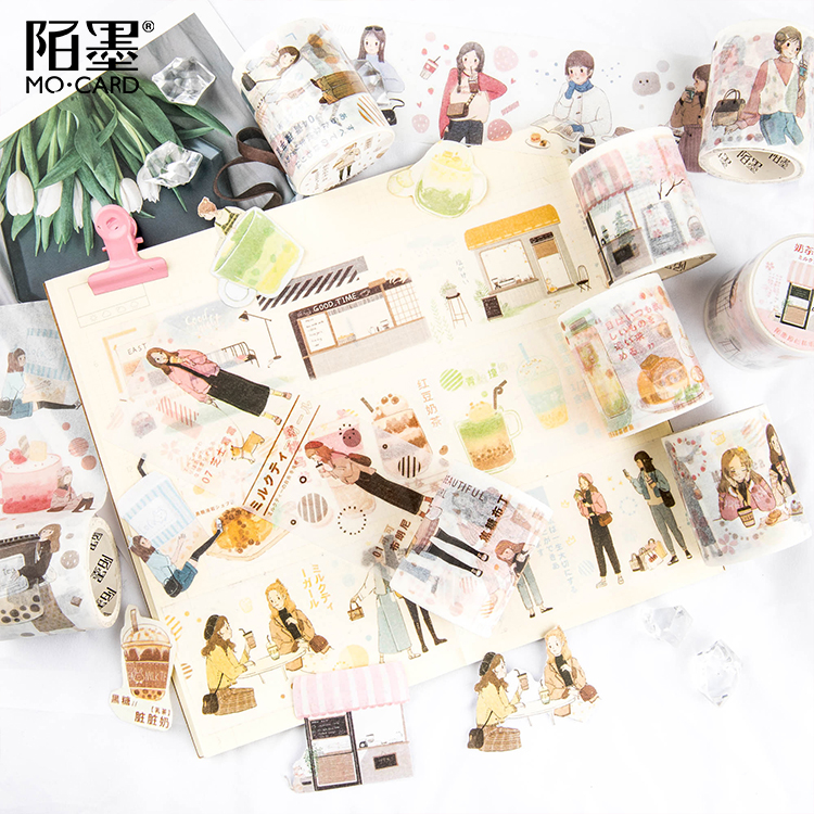 Strawberry Milk Tea Girl Decorative Washi Tape DIY Scrapbooking Sticker Label Masking Tape School Office Supply Gift Stationery