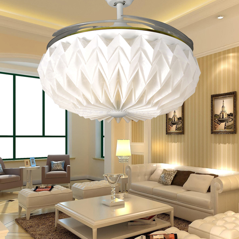 White frequency conversion ceiling fan lights restaurant home living room fan light invisible fan led simple fashion modern remo