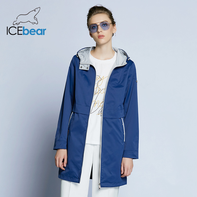 ICEbear 2018 New Autumn Women Fashion Casual Slim Solid Coat With Hat Zipper Pocket 4 Color Thin Trench Coat B17G122D