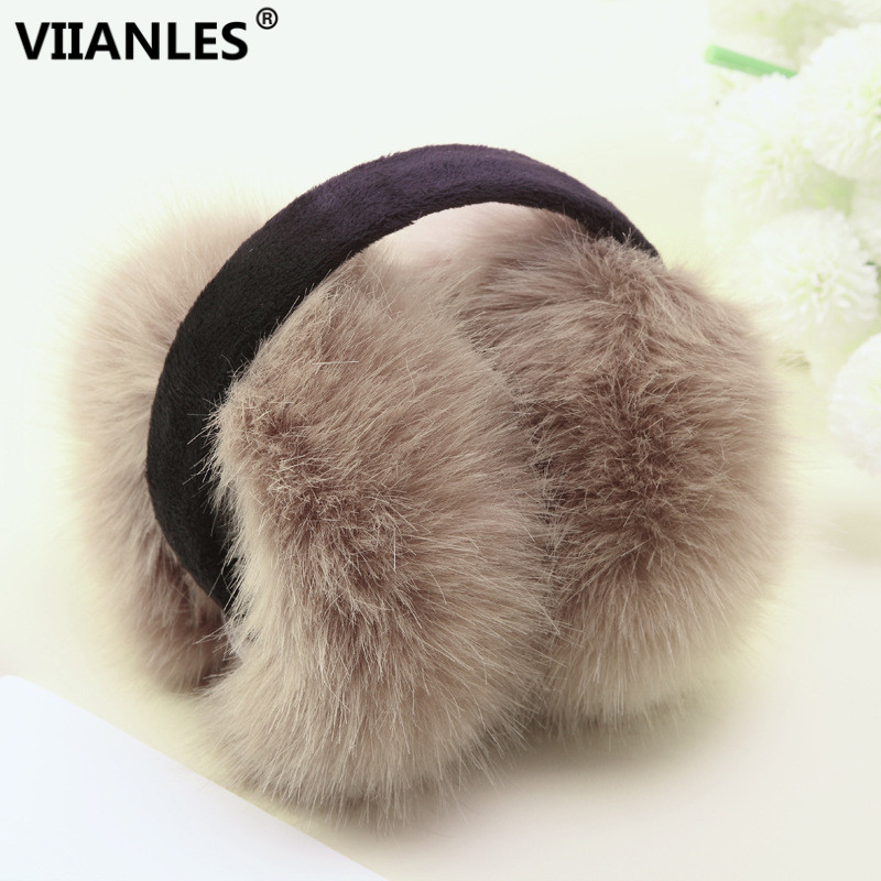 VIIANLES Earmuffs Women Winter Earmuff Imitation Rabbit Fur Earmuffs Wide Hot Sale Ear Warmers Lady Large Plush Girl Ear Warmers
