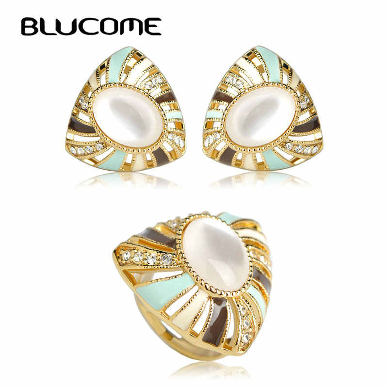 Blucome Classic White Opal Stud Earring Ring Set Enamel Flower Jewelry Sets Aretes Bague Party Wedding Women Girls Bijuterias