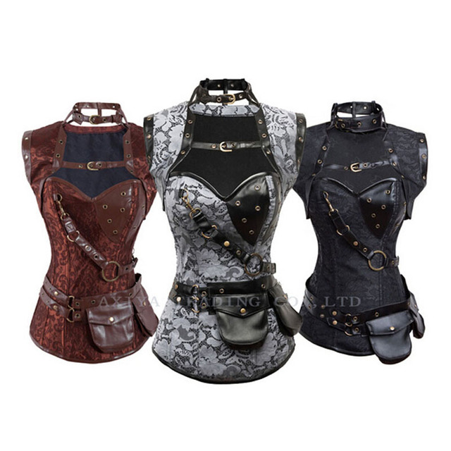 High Quality Sexy Steel Boned Brown Vintage Steampunk Corset Corselet Top Women Gothic Overbust Bustiers Leather Corsets