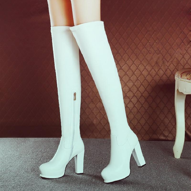 winter boots women over the knee boots genuine leather boots high boots platform heel white autumn shoes woman hot sale B947A autumn winter high quality hot sale genuine leather over the knee boots platform buckle long women boots