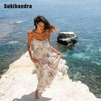 Sukibandra Summer Floral Print Boho Chic Maxi Long Slip Dress Women Bohemian Spaghetti Strap Dress Vintage