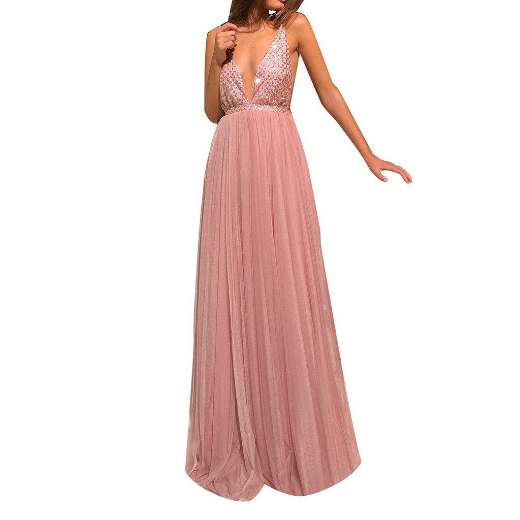 <font><b>Women</b></font> <font><b>Sexy</b></font> Sequin <font><b>Solid</b></font> Color Sling Hollow Long Party <font><b>Elegant</b></font> Gown <font><b>Dress</b></font> <font><b>Women</b></font> Casual Higth Waist <font><b>Lace</b></font> V-Neck <font><b>Dress</b></font> G0404#20 image