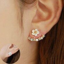 Женского розового двусторонняя кристаллы brincos золота стад уха до серьги цветок