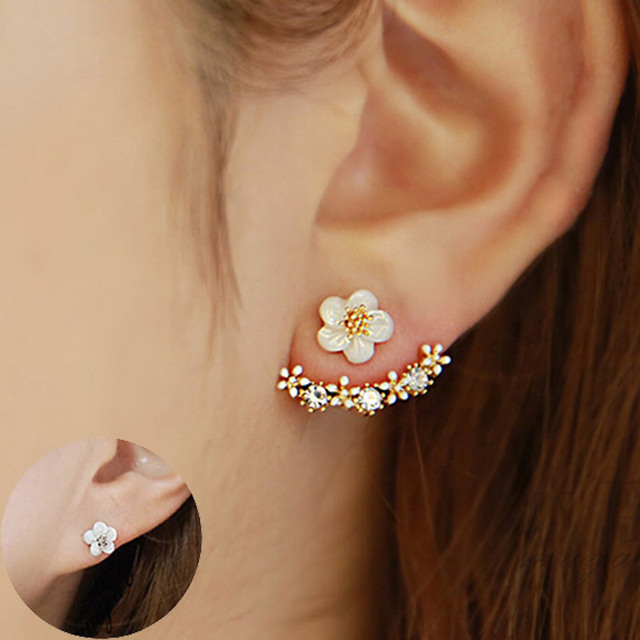 Double Sided Rose Gold Crystal Flower Earrings