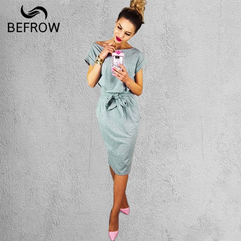 BEFORW New Fashion Ms Dress Elegant Sexy Dress Short Sleeve Round Neck Dress Bow TieBandages Decoration Dress Women's Clothing