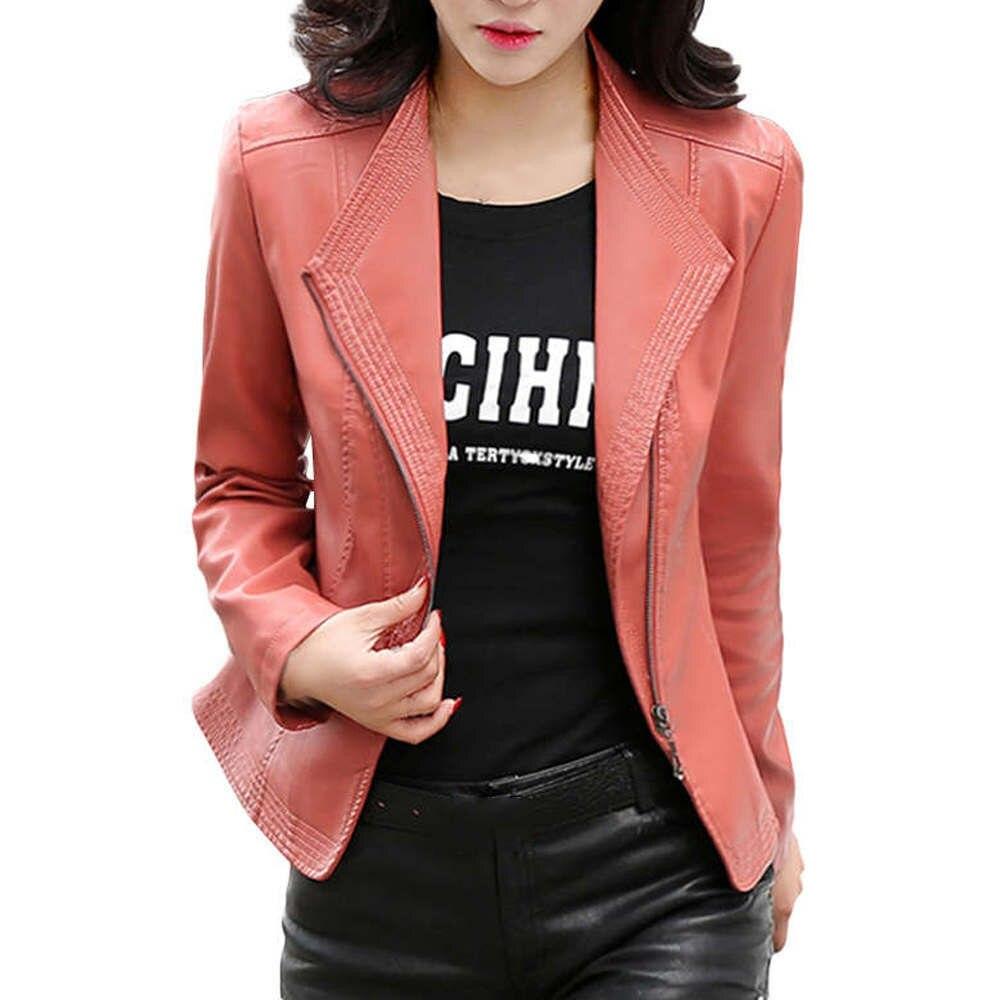 Free Ostrich Pu Leather Jacket 2019 Autumn Fashion Women's Slim Clothing Zipper Black Short Ladies Basic Jackets Coats E0232