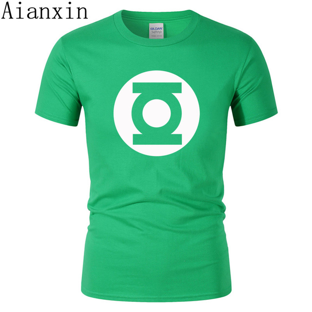 bec9d2bc AIANXIN 2019 New Green Lantern t shirt Men The Big Bang Theory T-shirt Top  Quality Cotton Sheldon Cooper Super heroT Shirts Men