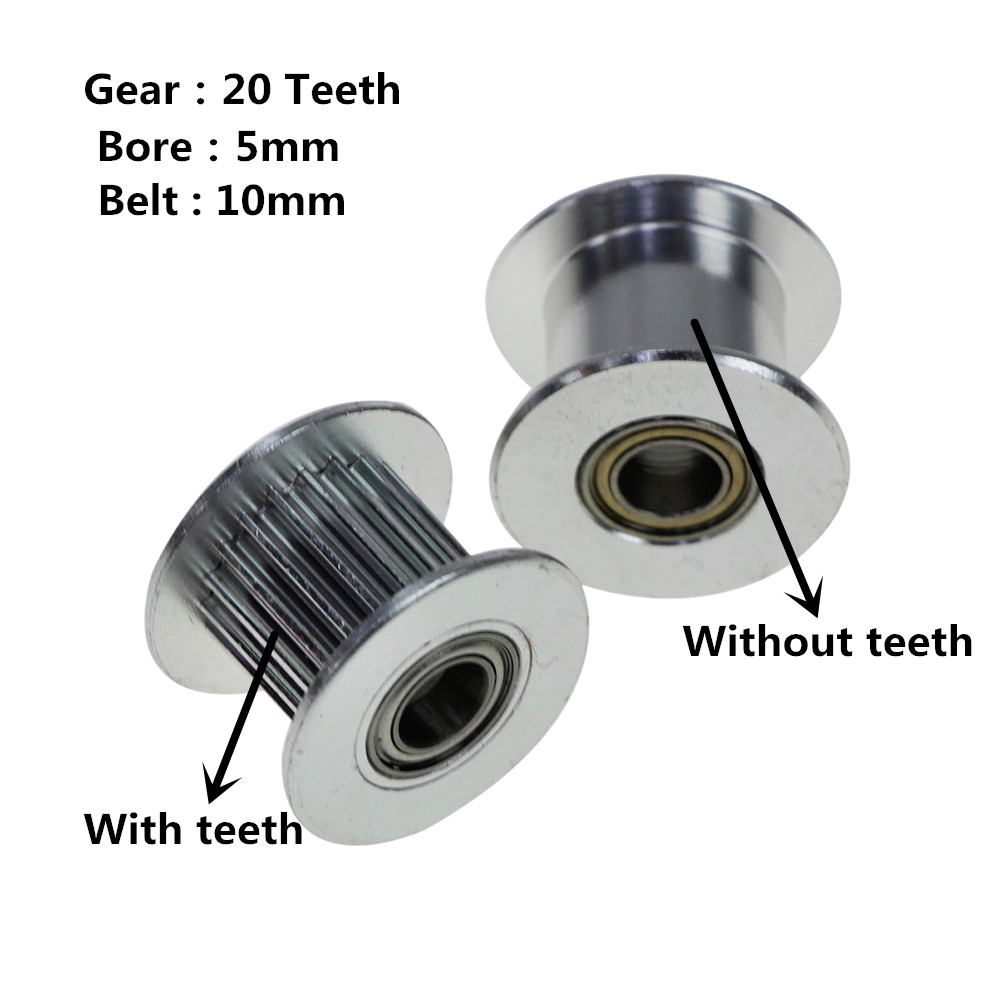 3D printer accessories GT2 Pulley 20 Without Teeth Idle Pulley 20Teeth Timing Gear Bore 5MM For GT2 belt Width 10MM