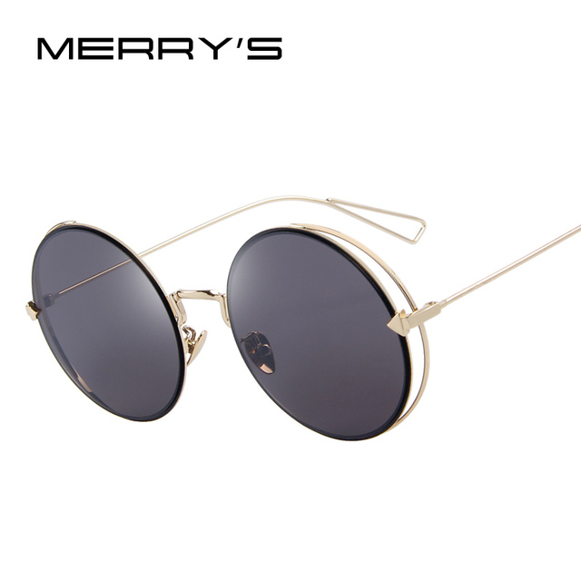 MERRY'S Women Retro Round Sunglasses Classic Brand Designer Sunglasses Coating Mirror Flat Panel Lens S'8016