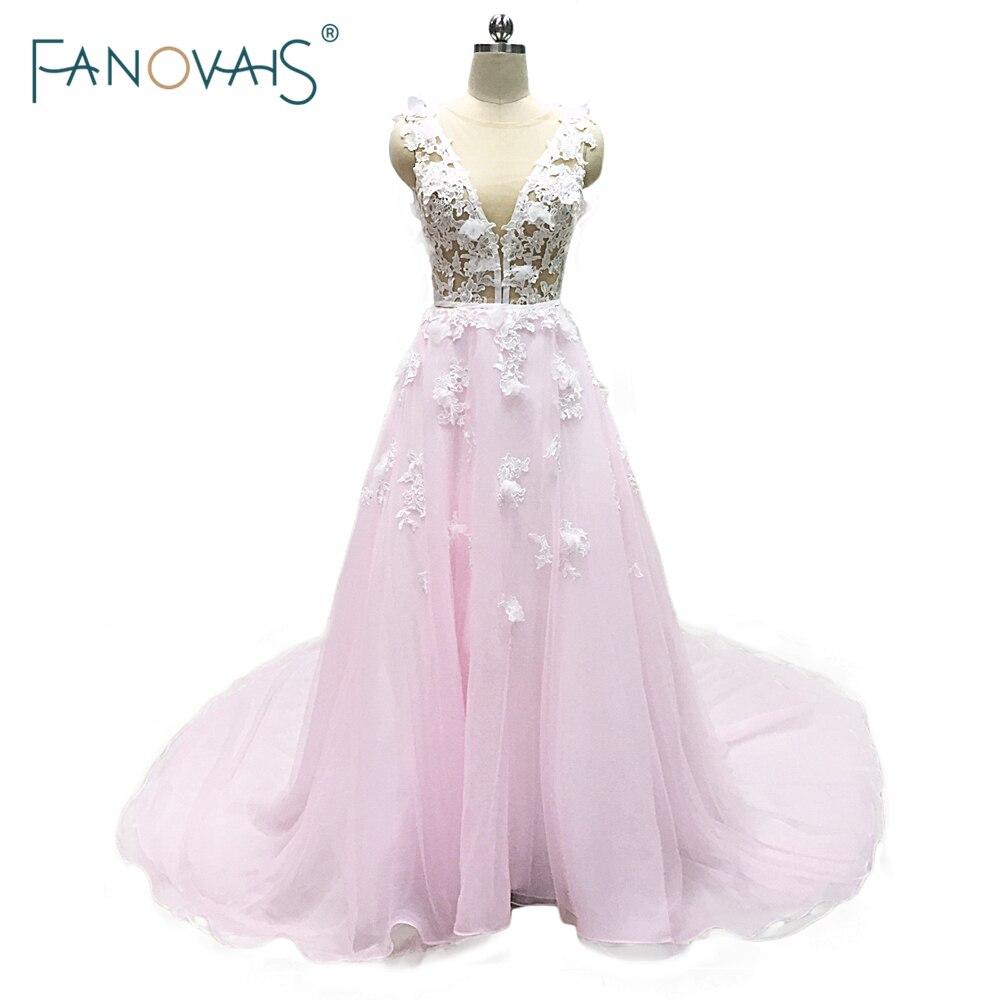 New Fashion Różowy Suknie ślubne Sąd Pociąg Linii Aplikacja Kwiat